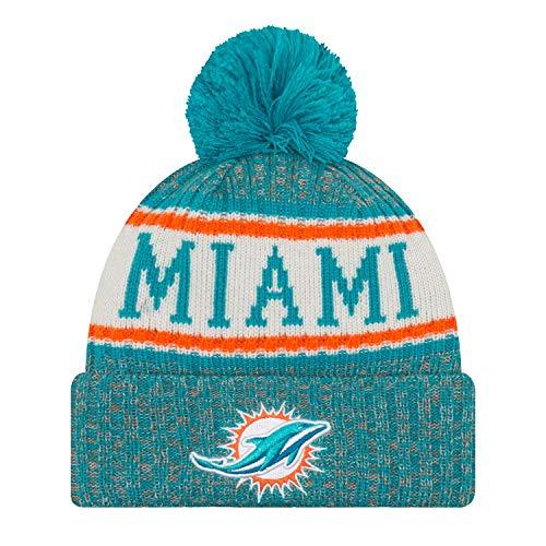 Nfl Miami Dolphins (New Era Miami Dolphins NFL 18 Sideline Sport Knit Hat Teal/Orange/White Size One)
