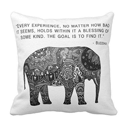 Emvency Throw Pillow Cover Cushion Buddha Henna Elephant Wisdom Decorative Pillow Case Home Decor Square 18 x 18 Inch Cushion Pillowcase