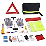 zip ties for car tires - 43-in-1 Roadside Assistance Car Auto Emergency Kit and Car Survival Bag - Contains Safety Hammer, Tire Repair Kits, Reflective Safety Triangle, Gloves with Gripping Palm (US STOCK)