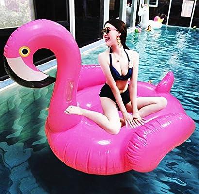 Asamoom Flotador Gigante Flamenco Hinchable para Piscina , Flotador Unicornio Piscina Para Adultos 150 x 150x 120 cm