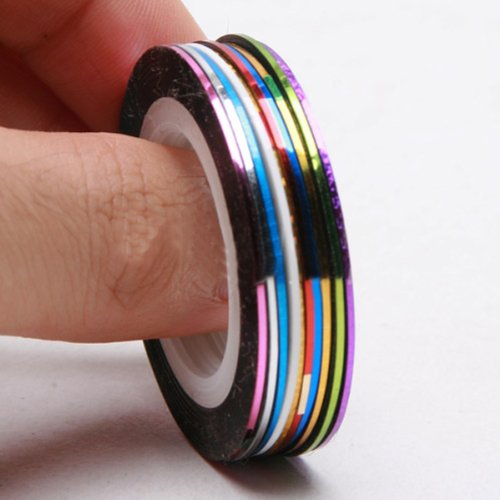 30Pcs Mixed Colors Rolls Striping Tape Line Nail Art Tips Decoration Stickers