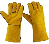Gyugawa Heat Resistant Genuine Leather Gloves, For Oven/Grill/Fireplace works/Stove/Pot Holder/Tig Welder/Mig/Outdoor Cooking/Camping/BBQ/Ceramic Art - Extra Long Sleeve (YELLOW)