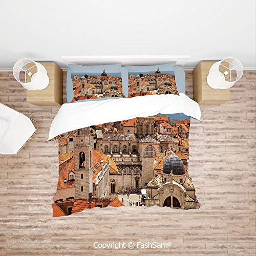 FashSam Duvet Cover 4 Pcs Comforter Cover Set Aerial View on The Old City of Dubrovnik City Walls Medieval Croatia European Deco Decorative for Boys Grils Kids(Queen) -