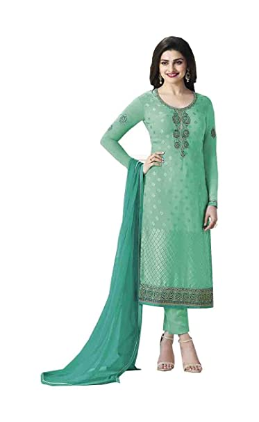 efbb12598a Prachi Desai Light sea Green embroidered Women's Georgette Brasso Straight Salwar  Suit: Amazon.in: Clothing & Accessories