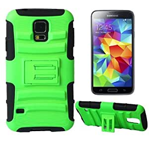 Minnesota Computers S5 Armored Case with Stand 2-in-1 Hybrid Protective Cover Works with Samsung Galaxy S5 / Galaxy SV / S5 I9600 (Green)