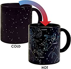Starry night.... Pour a hot cup of coffee and 11 constellations emerge before your eyes. 10 ounce cup Microwave safe, not dishwasher safe. Includes: Cassiopea, Perseus, Sagittarius, Hercules, Andromeda, Scorpius, Taurus, Ursa Major, Ursa Mino...