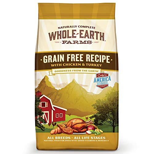 - Whole Earth Farms Grain Free Recipe Dry Dog Food, Chicken & Turkey, 4-Pound