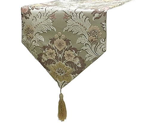Yoovi Jacquard Floral Table Runners Tassel Embroidered Table