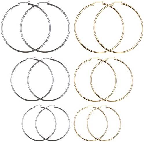 Areke Stainless Steel Women Hoop Earrings - Large Hypoallergenic Set of 6 Pairs 40-60mm