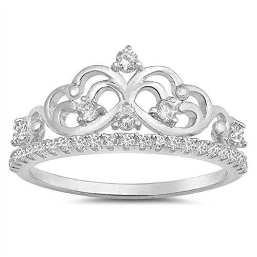 Clear CZ Tiara Crown Filigree Heart Ring New 925 Sterling Silver Band Size 5 ()