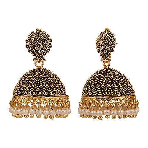Efulgenz Indian Vintage Bollywood Gypsy Oxidized Gold Plated Traditional Jhumka Jhumki Earrings for Women and Girls (White+Yellow) by Efulgenz (Image #2)