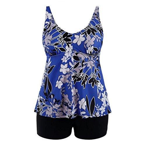 Donna Costume Plus Costumi Due Pantaloncini Intero Tankini Size Donna Da Elegante S Collare Blu Junkai Adorabile Stampa Floreale Pezzi 5XL Bagno wAaqPx1C