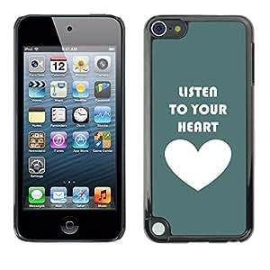 [Neutron-Star] Snap-on Series Teléfono Carcasa Funda Case Caso para Apple iPod Touch 5 [Listen To Your Heart trullo blanco del amor]