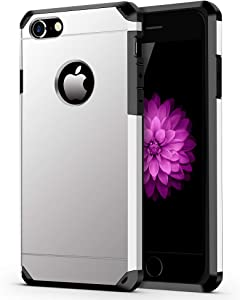 iPhone 7/8 Case, ImpactStrong Heavy Duty Dual Layer Protection Cover Heavy Duty Case for Apple iPhone 7/8 (Silver)