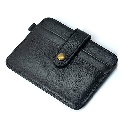 Genuine Bag Black Hrph ID Holder Card Coin Unisex Holder Simple Man Clutch Card Purse Women Leather Wallet Credit TRtxSwPR