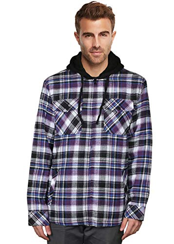 9 Crowns Essentials Sherpa Lined Plaid Flannel Hoodie Jacket-Blk/Purple-Medium