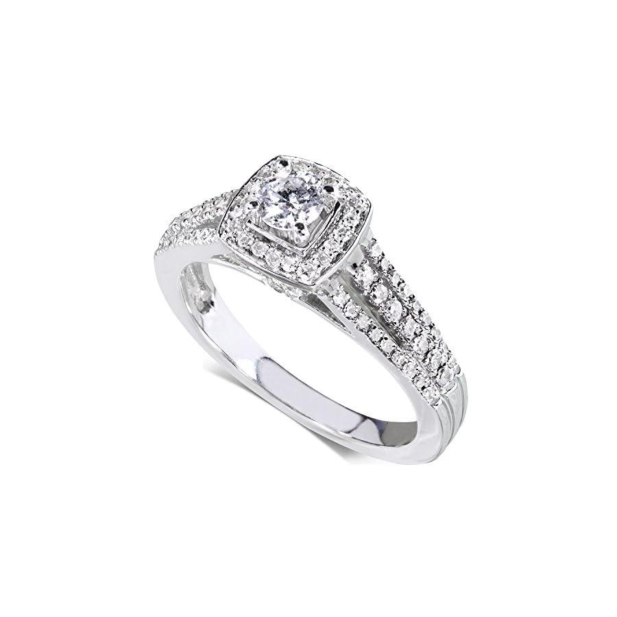 Diamond Engagement Ring 1/2 carat (ctw) in 14k White Gold