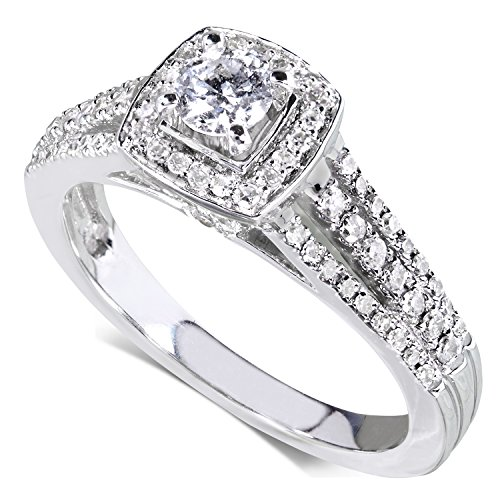 Diamond Engagement Ring 1/2 carat (ctw) in 14k White Gold