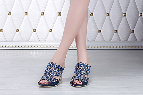 unicrystal Zapatos de parte trasera abierta sandalias Mules Diamante. Tacón para mujer Azul - azul