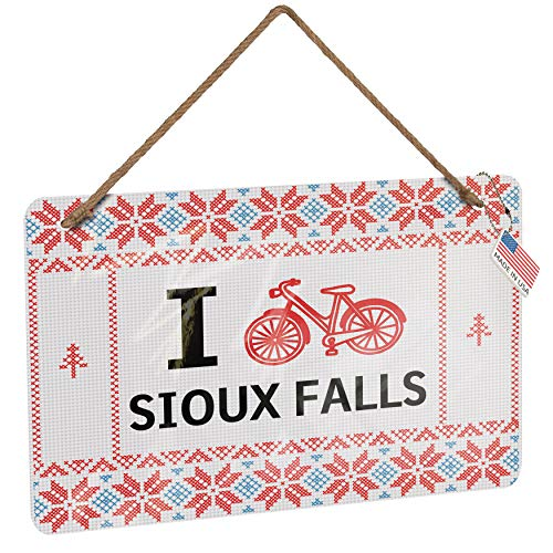 NEONBLOND Metal Sign I Love Cycling City Sioux Falls Vintage Christmas Decoration ()