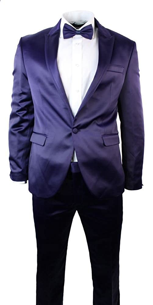 Mens Shiny Purple Slim Fit 1 Button Suit Party Wedding Prom Blazer Bow & Trouser