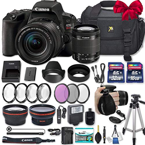 Canon EOS Rebel SL2 DSLR Camera with EF-S 18-55mm f/4-5.6 is STM Lens + 2 Memory Cards + 2 Auxiliary Lenses + HD Filters + 50″ Tripod + Premium Accessories Bundle (24 Items)