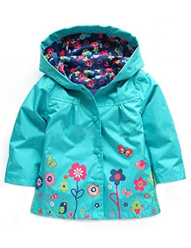 Amazon.com: YJ.GWL Kids Raincoat Little Girl Hooded Coat Floral Jacket Outwear: Clothing