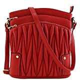 Triple Zip Pocket Large Crossbody Bag (Quilted Red)