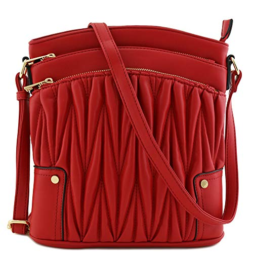 (Triple Zip Pocket Large Crossbody Bag (Quilted Red))