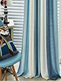 TIYANA Window Treatment Color Stripes High Shade Cloth Curtains Extra Wide for Living Room Bedroom Kitchen Curtains Custom Mediterranean Style Metal Grommet Top, 1 Piece, 95x84 inch