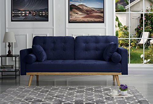 Mid-Century Modern Tufted Velvet Fabric Sofa