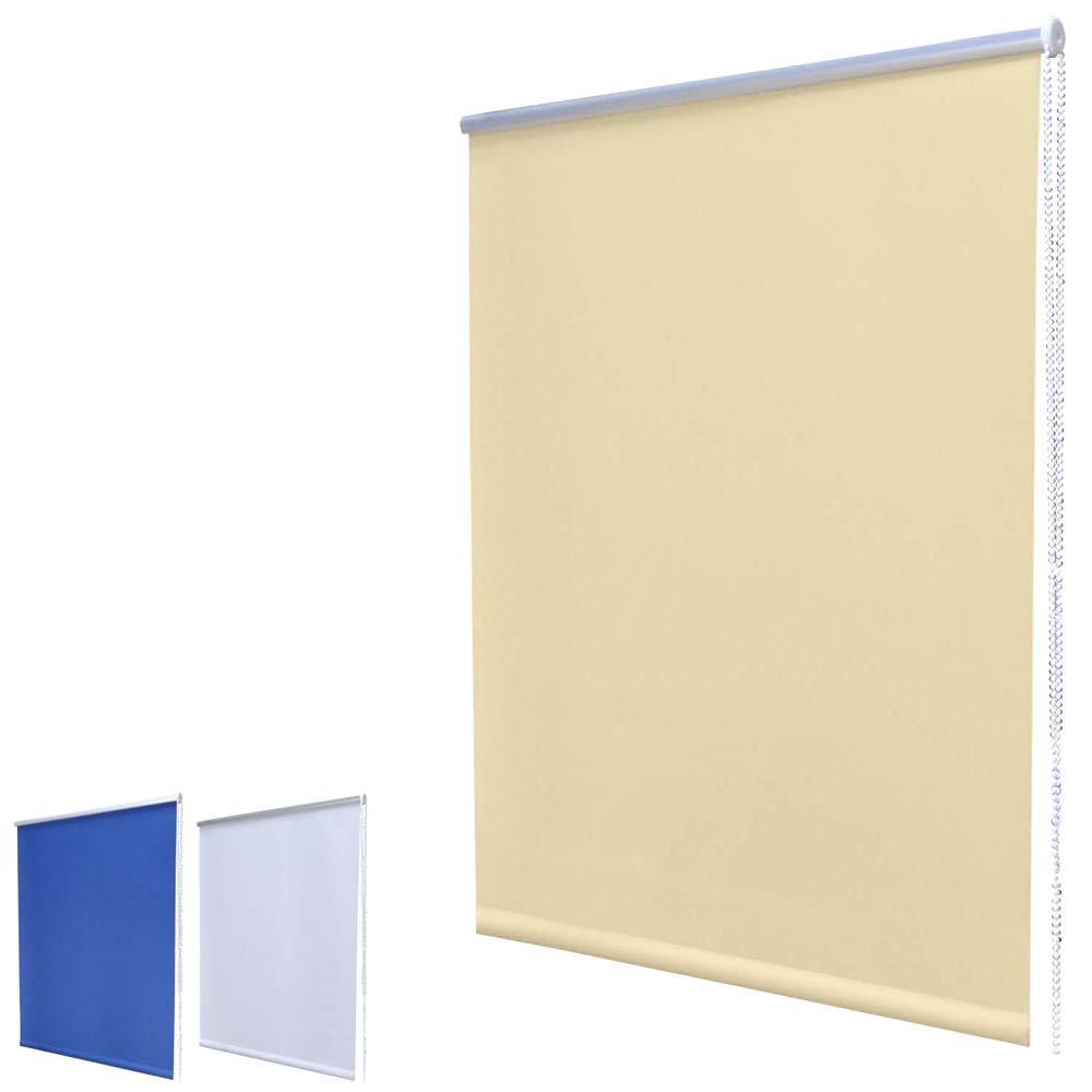 Mini store occultant à enrouleur Fixation Klemmfix sans perçage Avec pinces de serrage, Plastique Tissu, Blanc cassé/beige, 60 x 120 cm Hossi' s Wholesale