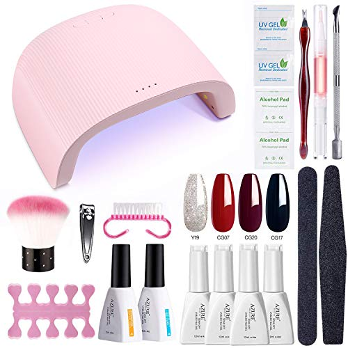 AZUREBEAUTY Gel Nail Polish Starter Kit with 48W UV/LED Lamp (3 Timer Setting),Base and Top Coat, Manicure Tools + 4 Elegant Color Gel Polish(12ml)