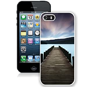 NEW Unique Custom Designed iPhone 5S Phone Case With Stunning Lake Dock Colorful Sky_White Phone Case