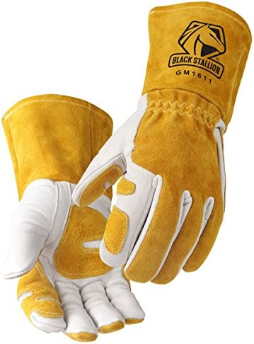 Revco GM1611 Top Grain Leather Cowhide MIG Welding GlovesReinforced Palm & Thumb & Index Finger Seamless Forefinger 5 Cuff for Extra Protection (Large)