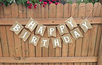 Burlap Happy Birthday Banner For Rustic Birthdays