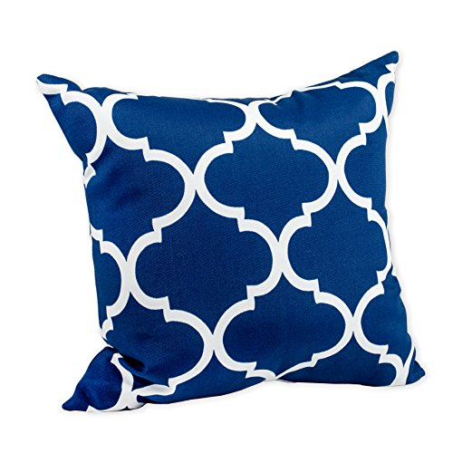 Landmark Navy Blue Moroccan Tile Print 16 x 16 Indoor Outdoor Throw Pillow