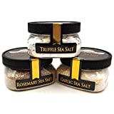 Mediterranean Diet Sea Salt Collection 3-Pack: Rosemary, Garlic, Truffle - Perfect for Adding Diet-Friendly Flavor to Your Favorite Foods - Non-GMO, Gluten-Free, No MSG (12 total oz.)