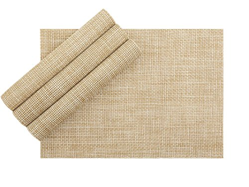 VEEYOO Woven Vinyl Non-slip Insulation Heat Stain Resistant Washable Table Placemats Kitchen Dining Table Top Meal Mat Place Mats,PVC,13×18″,Set of 4, Natural
