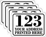 Personalised Printed Wheelie Bin Number Stickers with Road and Street Name - A6 Vinyl Waste Container Decals - set of 4
