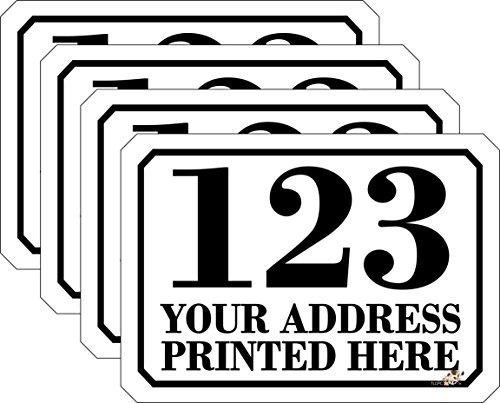 Personalised Printed Wheelie Bin Number Stickers with Road and Street Name - A6 Vinyl Waste Container Decals - set of 4 by The Lazy Cow ()