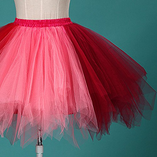 Spectacle Taille Femme rouge lastique Lger Corail Fte Fille Multicolore Tulle Jupe Danse pour Jupe Courte Multi Ballet Couches Feoya Jupe Tutu Adulte w1TE7