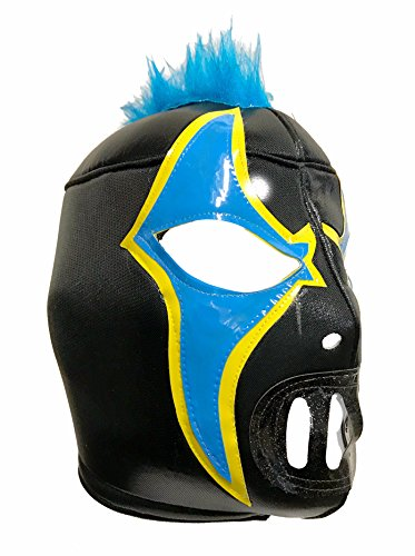 Crazy Mask (CRAZY CLOWN Adult Lucha Libre Wrestling Mask (pro-fit) Costume Wear - Black/Blue)