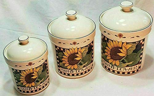 (3 Piece Canister Set Sunflower Canisters Certified International Susan Winget)
