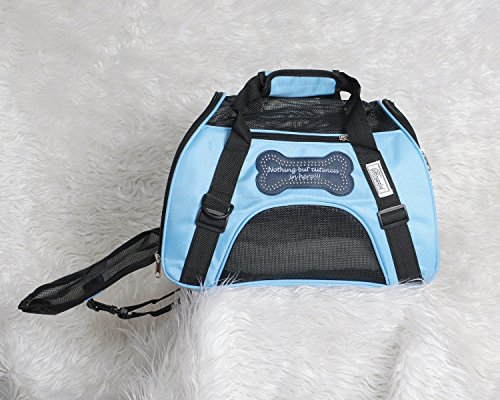 (Airline Approved pet Carrier, Plush Bed, Reflective Stripe for Nights, Collapsible, Designer Soft Sided Dog Carrier with The tag line Nothing But Cuteness in Here (Small, Baby Blue))