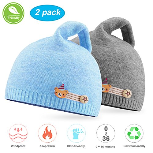 NIOFEI 2 Pack Baby Winter Beanie Hats for Unisex Baby Boys Girls Soft Cotton Cute Toddler Infant Kids Knit Beanies Hats Caps (Blue + (Gray Winter Knit Hat)