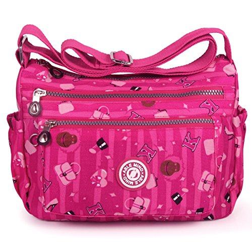 ABLE Anti Splash Water Shoulder Bag Casual Messenger Crossbody Bags 2-rose