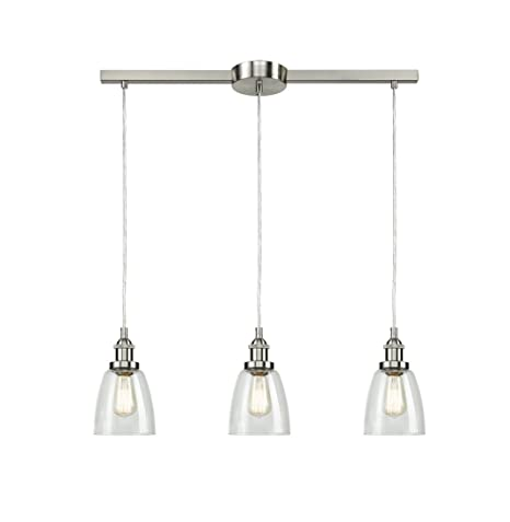 3 light kitchen pendant small kitchen eul industrial brushed nickel 3light kitchen island lighting linear pendant with clear glass