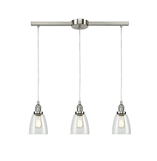 Eul Industrial Brushed Nickel 3 Light Kitchen Island Lighting Linear Pendant With Clear Glass