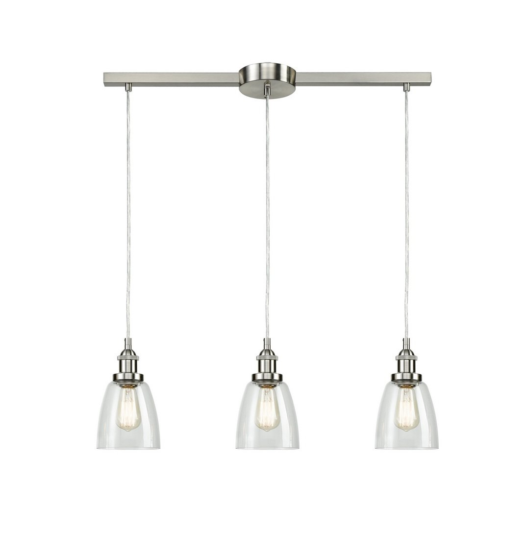 Eul Industrial Brushed Nickel 3 Light Kitchen Island Lighting Linear Pendant With Clear Glass Buy Online In Bosnia And Herzegovina At Bosnia Desertcart Com Productid 69429110